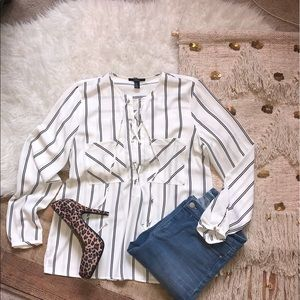 NWT Forever 21 Striped Lace Up Long Sleeve Blouse